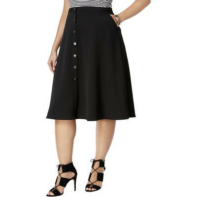 c171f37feff Black Skirt 3X Plus NY Collection NWT  54 Button Midi Pique Pockets A-Line  TM190