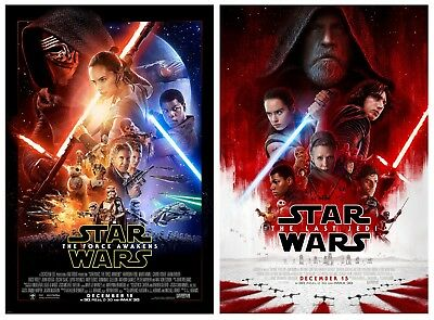 STAR WARS The Last Jedi & Force Awakens Original DS OS 27x40 Movie Poster bundle