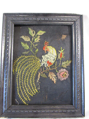 Antique NEEDLEPOINT Pheasant Peacock Flowers Framed Victorian Finished