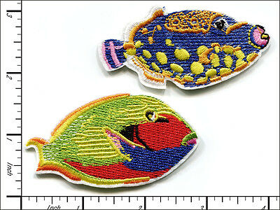 """20 Pcs Embroidered Iron on patches 2 assorted Sea Fish 2.88""""x1.56"""" AP013hC"""