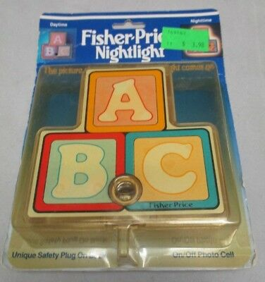 1986 Fisher Price Nightlight Picture Changing Toy Blocks New Old Stock WORKS