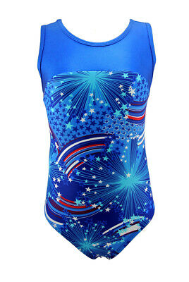Gymnastics Leotard Tank Keyhole Youth Girls Teens 5 6 7 8 9 10 11 12 14 Rainbow