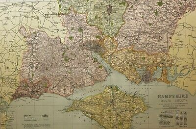 1898 Original County Map Hampshire South Isle Of Wight Portsmouth Southampton