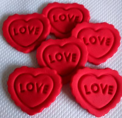 LARGE RED VALENTINE LOVE HEARTS Edible Sugar cake topper Cupcakes