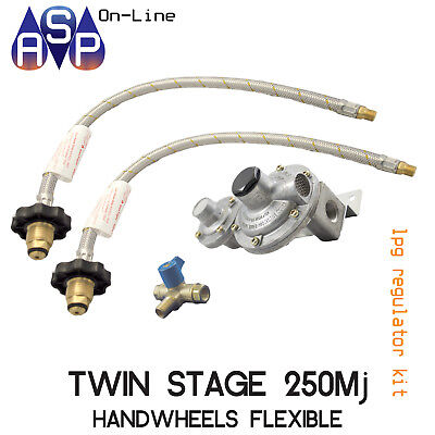 Lpg-Regulator-Kit-Twin-Stage-250Mj-Suit Caravan And Home Use With Hand Wheel