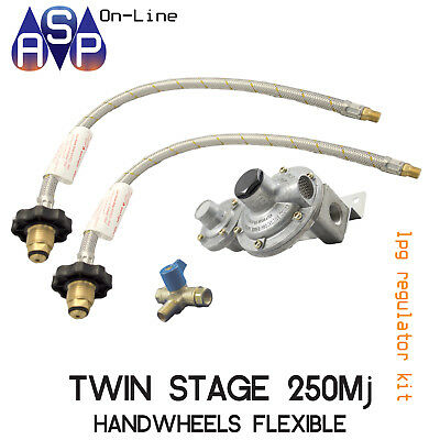 Lpg-Regulator-Kit-Twin-Stage-250Mj-Suit Caravan And Home Use With Hand Wheels