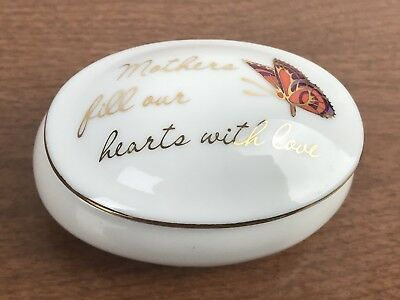 "Vintage ""Mother's Fill Our Hearts With Love"" Covered Trinket Ring Dish Butterfly"