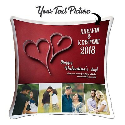 ❤Personalised Valentines Day Designs Your  Photo Cushion Cover Couples Pictures❤