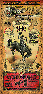 Cheyenne Wyoming Frontier Days Rodeo Western Poster by Bob Coronato