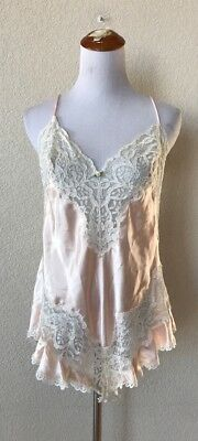 VTG Frederick's Of Hollywood Peach Satin Ivory Lace Teddy Lingerie Sexy Sz L VG
