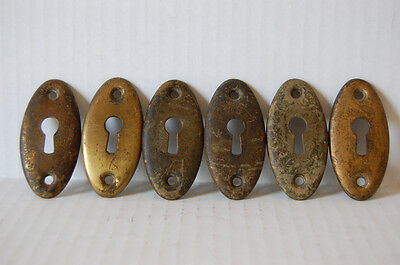 Set of Large Oval Brass Keyhole Covers Arts Crafts Tudor Door Hardware 3 Pair