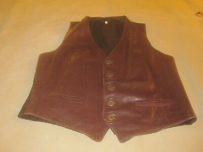 Leather Fashions Mens Brown Leather Vest Size 50 ~ 3742
