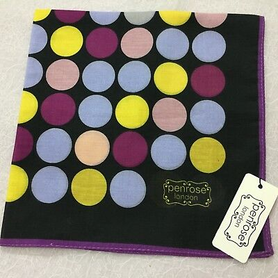 PENROSE Pocket Square ITALIAN Silk BLACK PURPLE YELLOW SPOT HANDKERCHIEF HANK