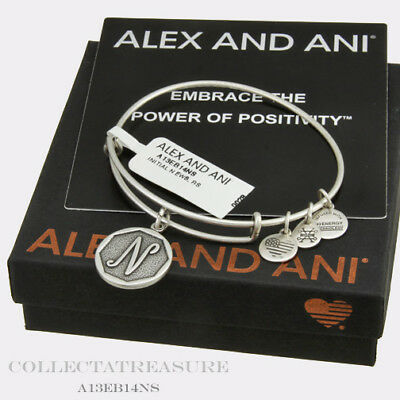 Authentic Alex and Ani Initial N Rafaelian Silver Charm Bangle