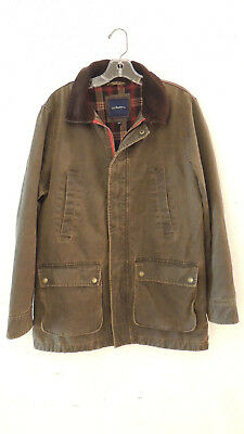 Mens GH BASS Flannel Lined Waxed Brown Canvas Jacket, Size M