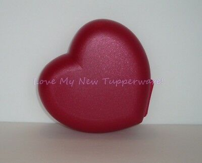 Tupperware Heart Keeper Hinged One-Piece Container Starlight Lipstick Red New
