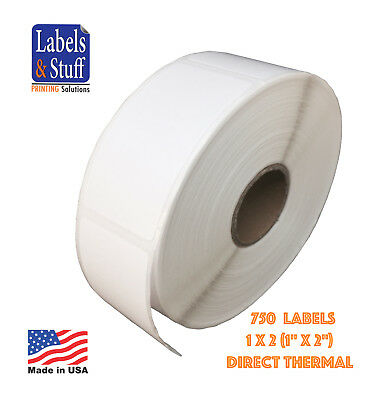 "2 Rolls / 750 Labels 1x2 Direct Thermal Zebra Eltron Labels 1"" x 2"""