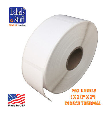 "36 Rolls / 750 Labels 1x2 Direct Thermal Zebra Eltron Labels 1"" x 2"""