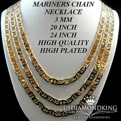 Mens Ladies 14K Gold Plated High Quality 3Mm Mariner Link Chain Necklace 20~24''