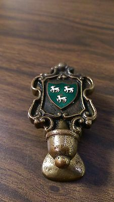 Door Knocker Made in England Vintage Antique Rare Horse Shield Army Brass Solid