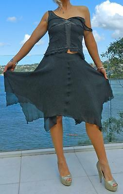 VINTAGE Table Eight Cocktail Glamour Pure Silk Beaded matching Top & Skirt
