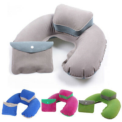 Air Blow Up Cushion Soft Inflatable Travel Neck U Shape Pillow Support Head Rest
