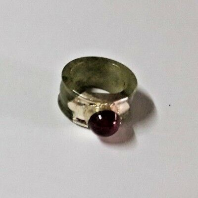 Antique genuine Jade stone old Silver wonderful Ring lucky Powerful Thailand