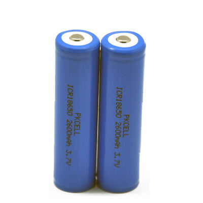 2X 18650 Li-ion Rechargeable Battery 3.7V 2600mAh For Flashlight Camera PKCELL