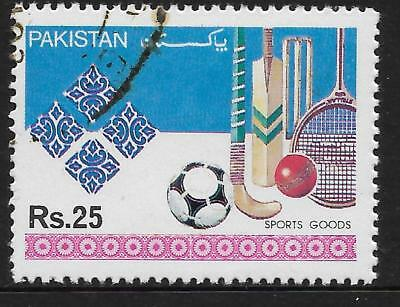 PAKISTAN 1992 INDUSTRIES Rs25 SPORTS GOODS Cricket Hockey Squash 1v USED (No.1)