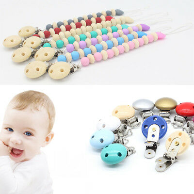 2Pcs Wooden Pacifier Clip Circle Non-toxic Soother Clips Teething Dummy Clips\