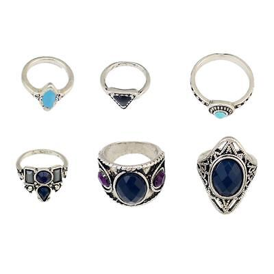 6Pcs Lot Women's Vintage Bohemian Knuckle Joint Nail Ring Mid Ring Band Set