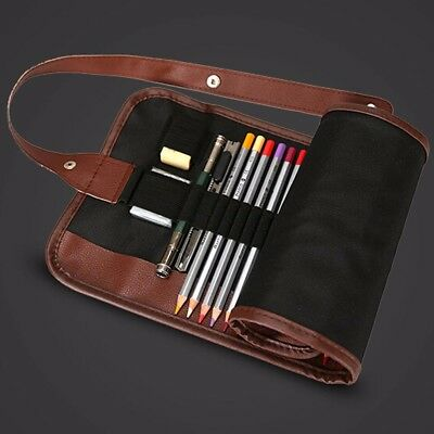 36/48/72 Slots Roll Up Wrap Canvas Pen Pencil Brush Case Sketching Holder Bags