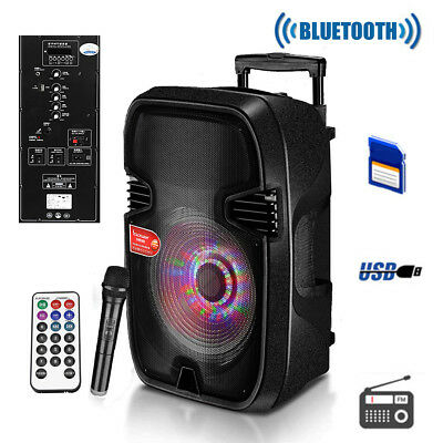 Bluetooth DJ Speaker PA System Rechargeable Power Amplifier USB AUX input Black
