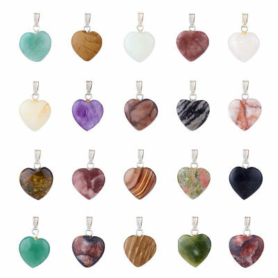 20pcs/Box Mixed Stone Natural Gemstone Heart Pendants Brass Bails Charms 23mm