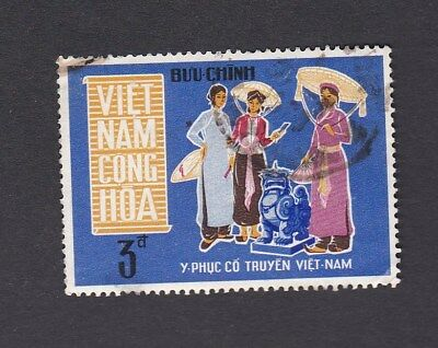 1970 South VIETNAM 3p Women and lion statue - Traditional Costumes SG#S361 USED