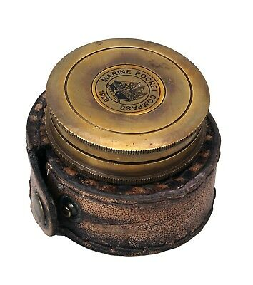 Antique Solid Brass Compass With Leather Embossed Carry Case Rustic Vintage