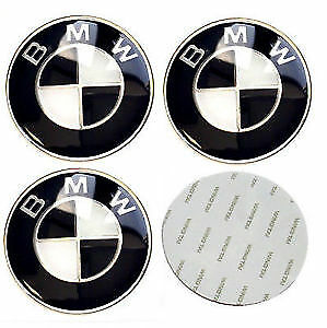 set of 4x65mm BMW Black Wheel Hub Center Stickers 1,3,4,5,7,X,M series