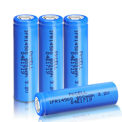 4 X 3.2v IFR14500 LiFePO4 Rechargeable Batteries 600mAh Cell PKCELL