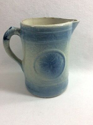 Antique Blue and White Stoneware Salt Glazed Pitcher Butterfly Design