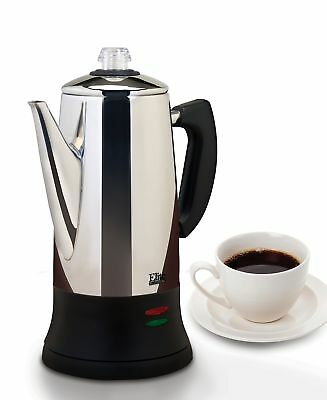 Elite 12 Cup Percolator Automatic Electric Tea Coffee Maker Pot Stainless Steel