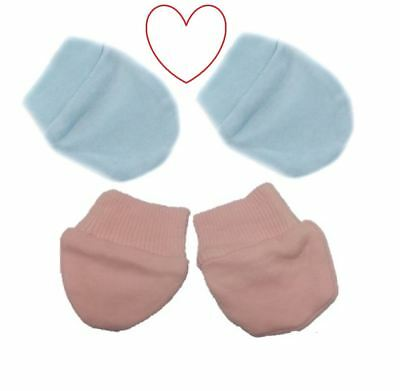 baby scratch mittens mitts pink blue 2 pair