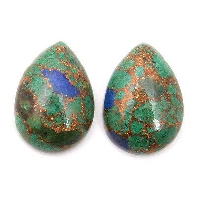 Royal AZURITE Copper Mohave 14x10 mm Pear Cabochon 1Pair Gemstone 10 Cts S-29010