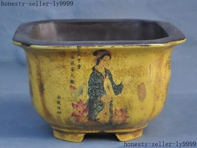 Old China yixing zisha pottery Four Beauties belle flower pot Bonsai Potted pots