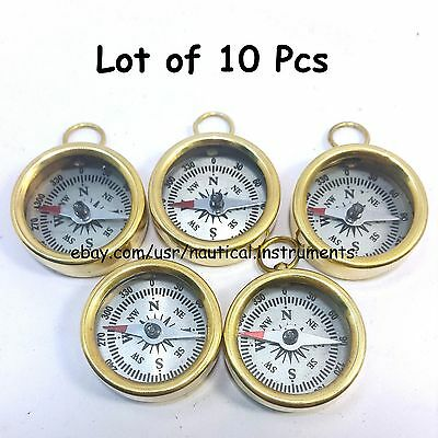 Lot  Of 10 Pcs Vintage Style Solid Brass  White Dial Pocket Compass