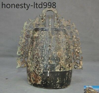 "11""Chinese Old antique Bronze beast pattern statue Temple Chime Bells Bell Zhong"