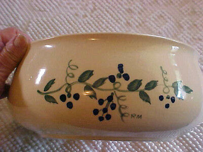 Pottery Bowl Hand Painted Wheat/Leaf Signed R.M. Brush USA Vintage Cottage Chic
