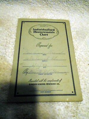 VTG 1941 Singer Sewing Machine Individualized Measurements Chart