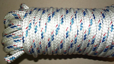 "1/2"" (12mm) x 93' Double Braid Polyester Sail/Halyard Line, Jibsheets, Boat Rope"