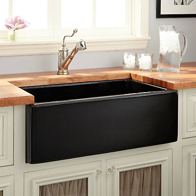"""30"""" Mitzy Fireclay Reversible Farmhouse Sink Smooth Apron in Black"""