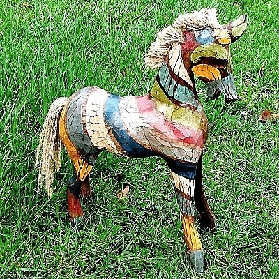 Horse Wood Carving Ornament Figure Hand Made Painted Carved Fair Trade Horses